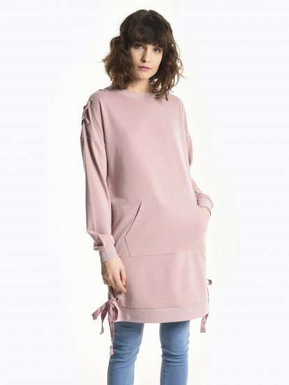 Longline sweatshirt with side lacing