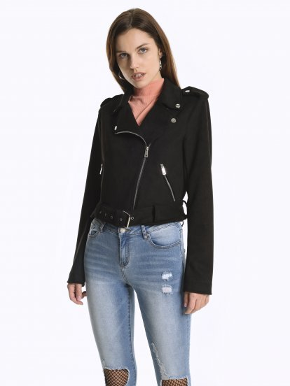 Faux suede biker jacket with belt