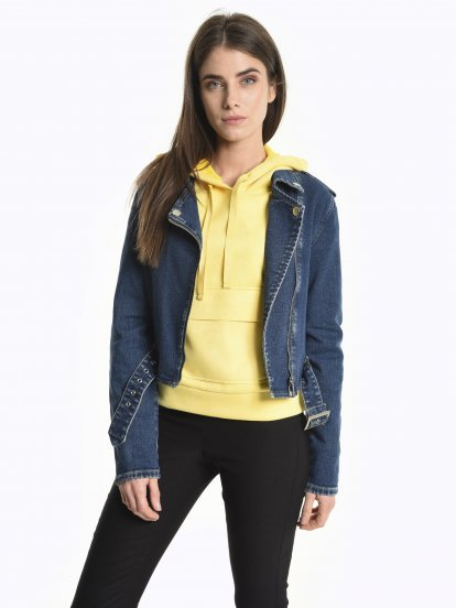 Stretchy biker denim jacket