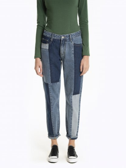 Boyfriend fit paneled jeans