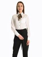 Satin blouse with bow