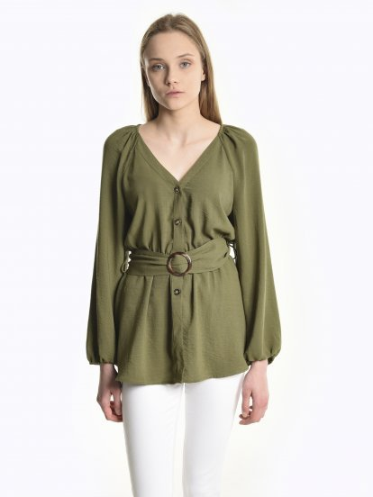 Peplum blouse with belt