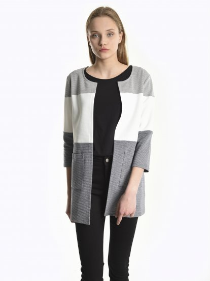 Varsity colour block blazer