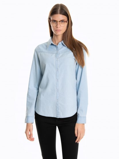 Denimowa bluzka z nadrukiem