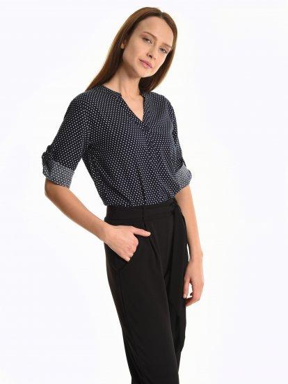 Polka dot print viscose blouse