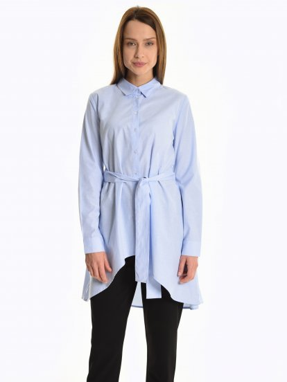Assymmetric blouse with belt