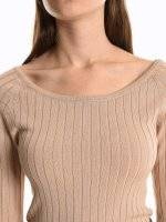 Boat neck ribbed pullover with sleeve buttons