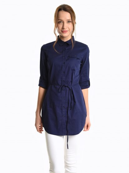 Prolonged cotton blouse with belt