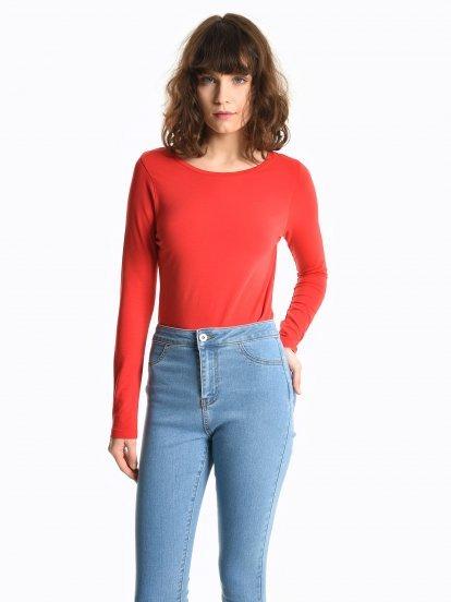 Basic koszulka ze stretchem z długim rękawem