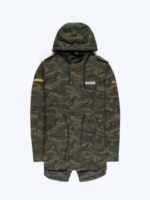 Camo print parka jacket
