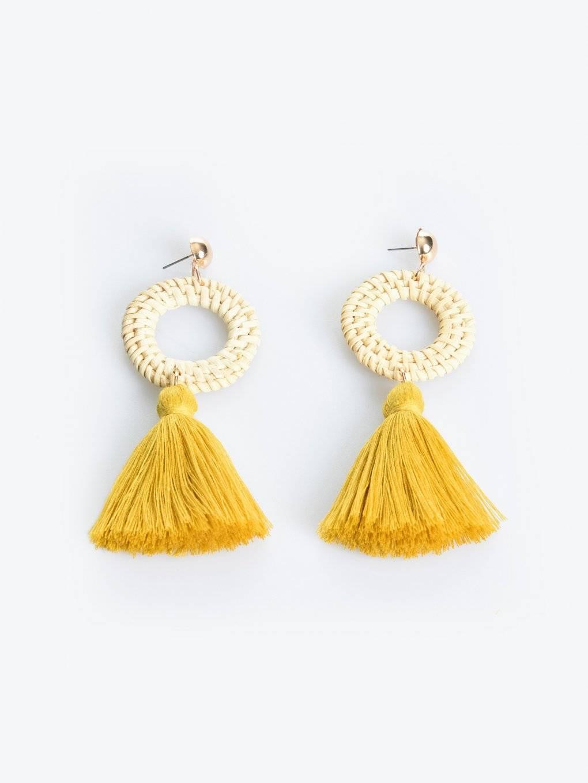 Wooden drop earrings with tassels