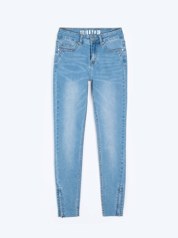 Džínsy skinny s ozdobným bočným prúžkom