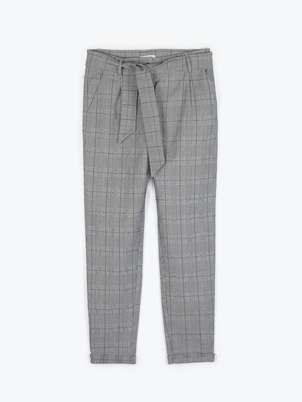 Kárované strečové mrkvové kalhoty