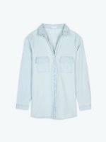 Denim blouse with checst pockets
