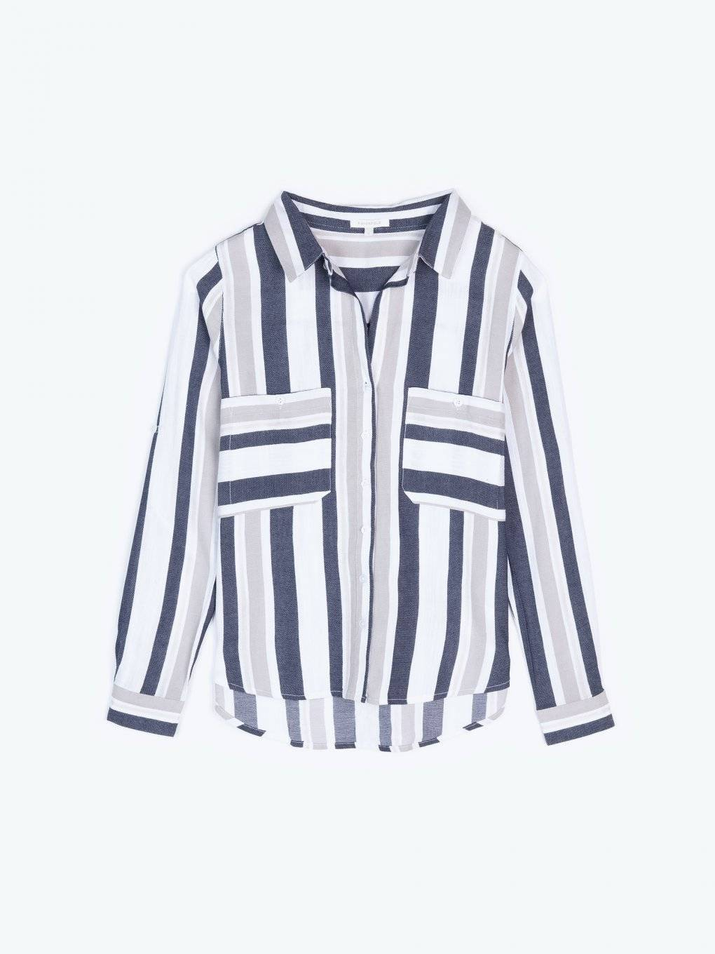 Cotton blend striped blouse