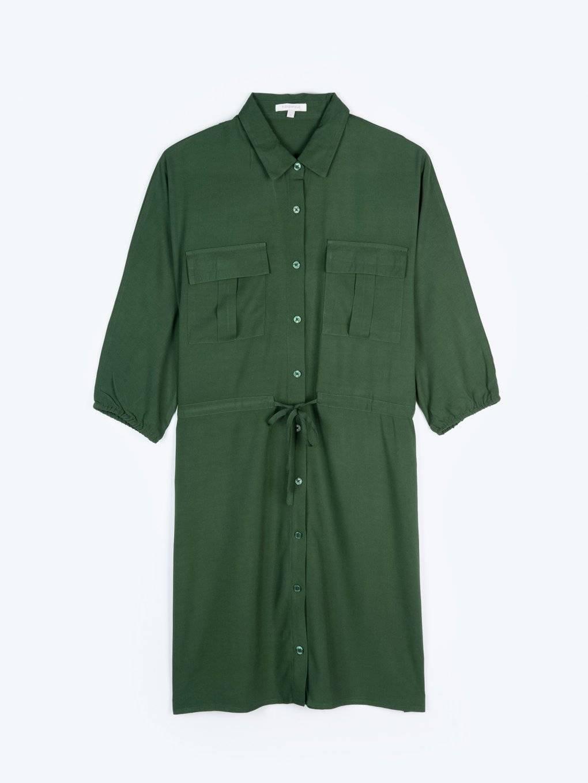 Viscose shirt dress with chest pockets