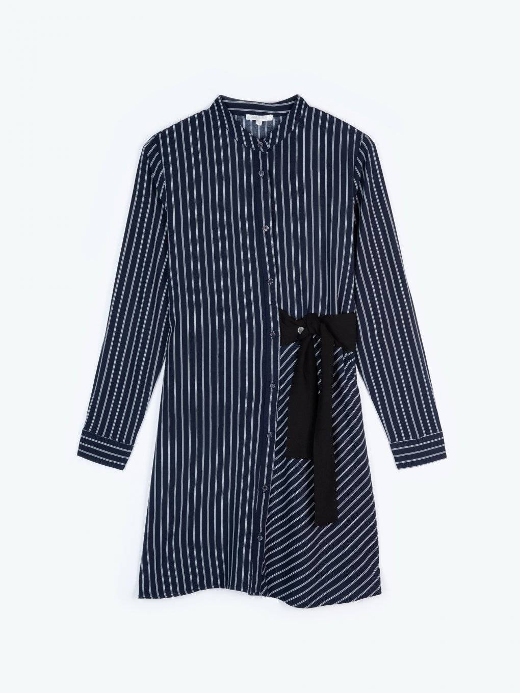 Striped shirt dress with decorative bow