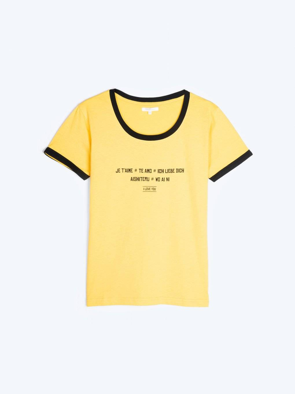 Message print t-shirt with contrast trims