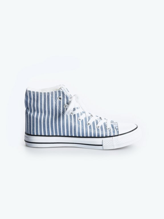Striped high-top sneakers
