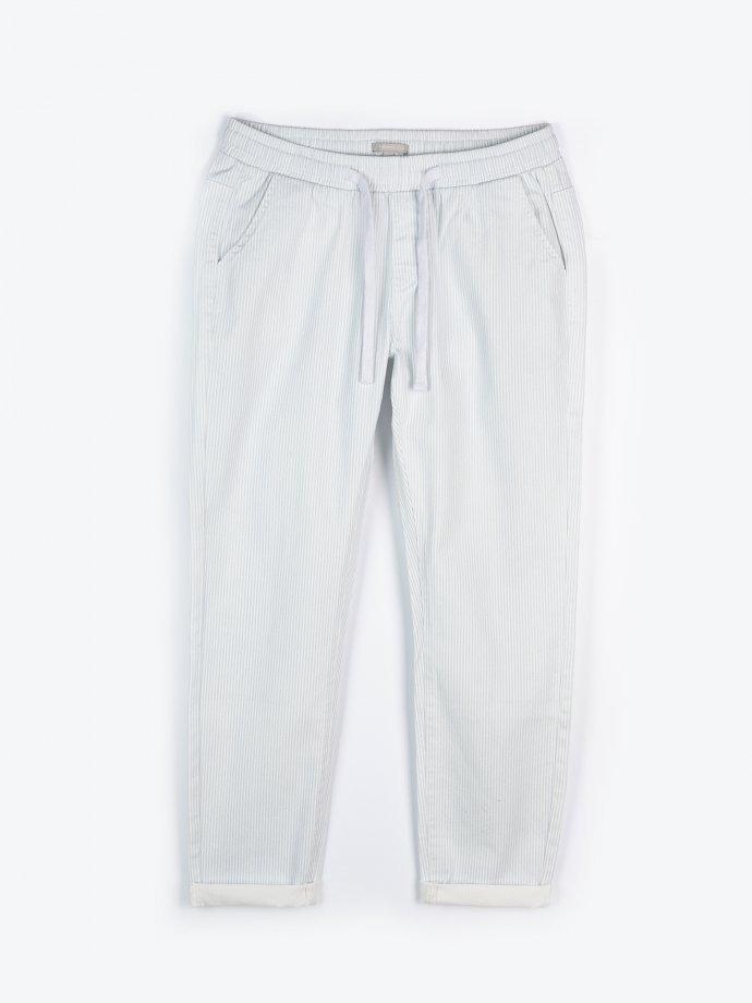 Proužkované strečové kalhoty