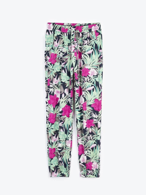 Floral print harem trousers