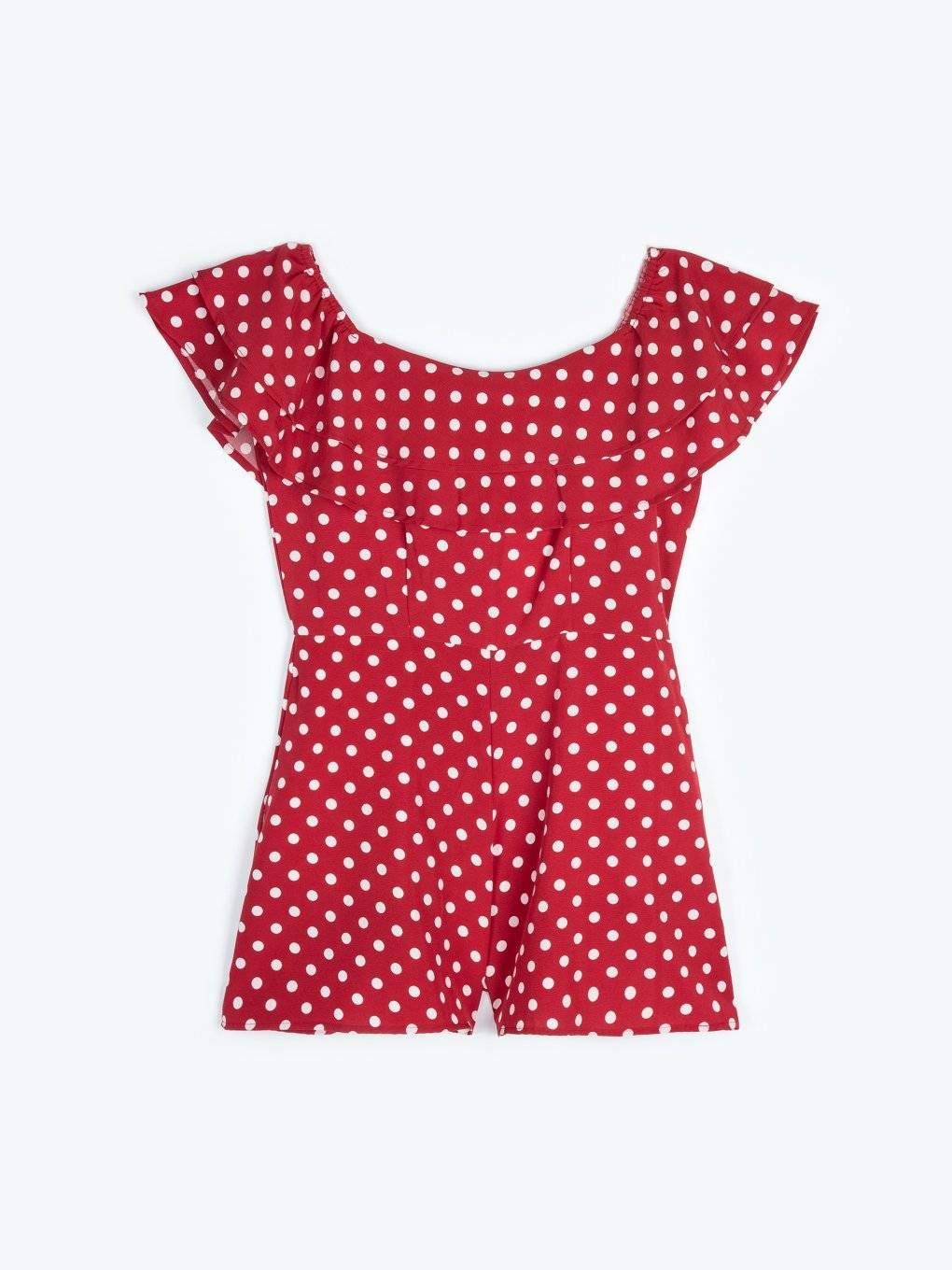 Polka dot print short jumpsuit with ruffles