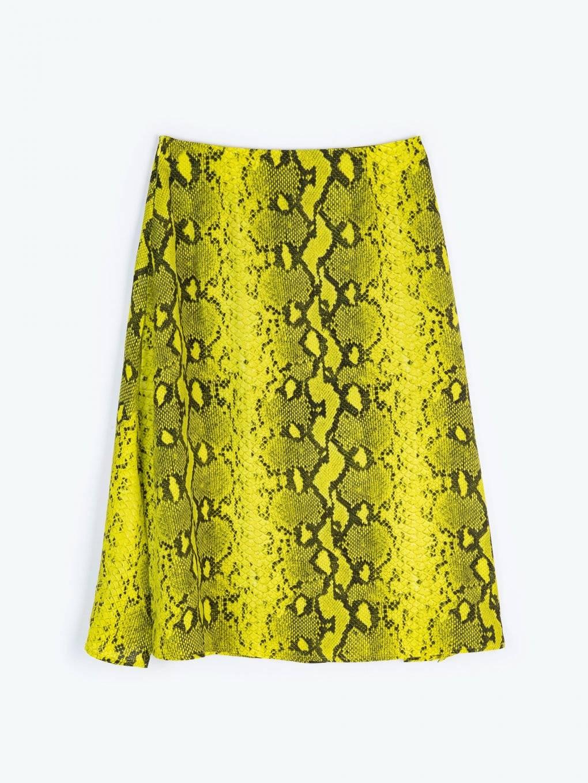 Midi skirt with animal print