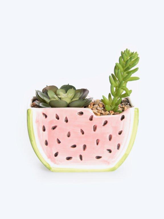 Watermelon pot with faux flower
