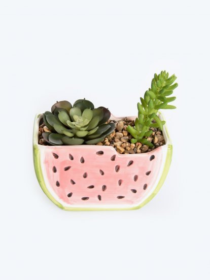 Watermelon pot with faux flower