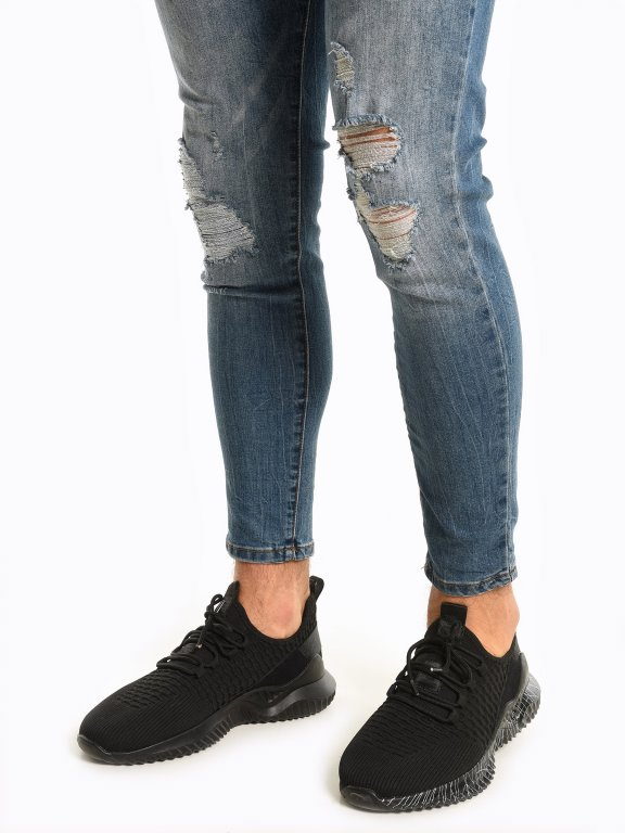 Lace-up textile sneakers