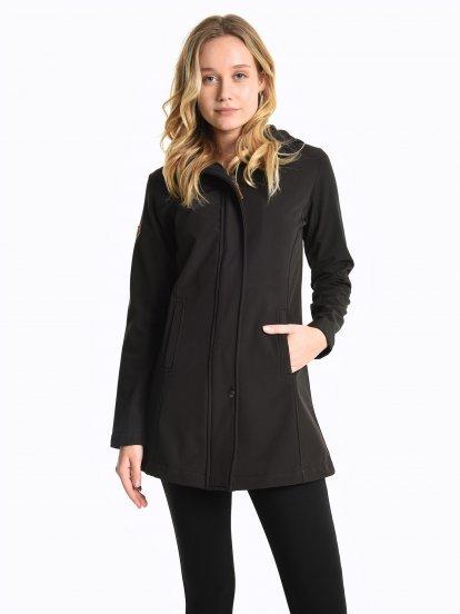 Fleece lined softshell jacket with hood