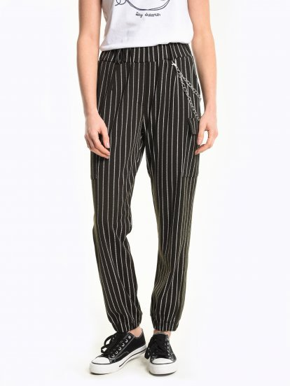 Striped cargo jogger trousers with decorative chain