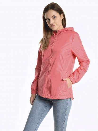 Waterproof hooded jacket from pocket