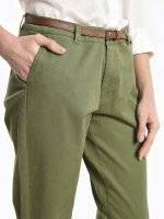 Stretchy chino trousers with belt