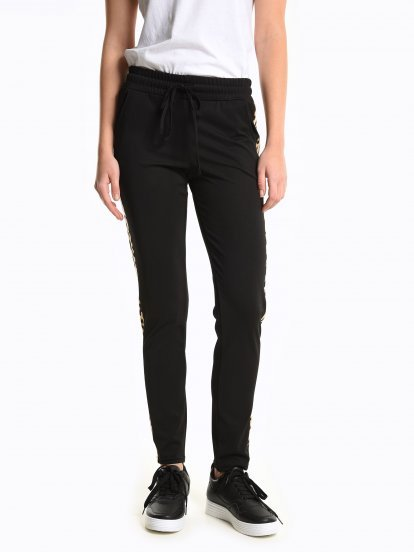 Animal tape stretch trousers