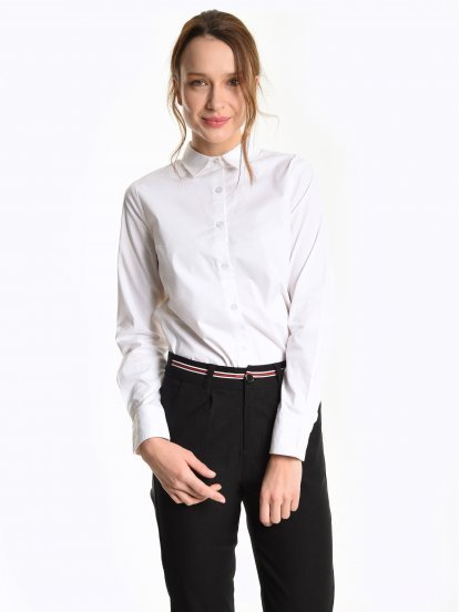 Basic stretch cotton blouse