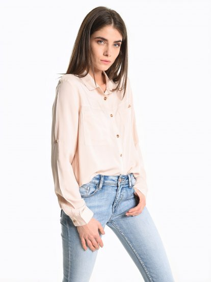 Utility look viscose shirt with chest pockets