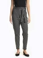 Stretch striped paperbag trousers