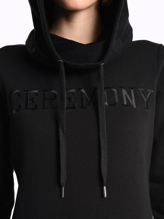 Hoodie with chest embroidery