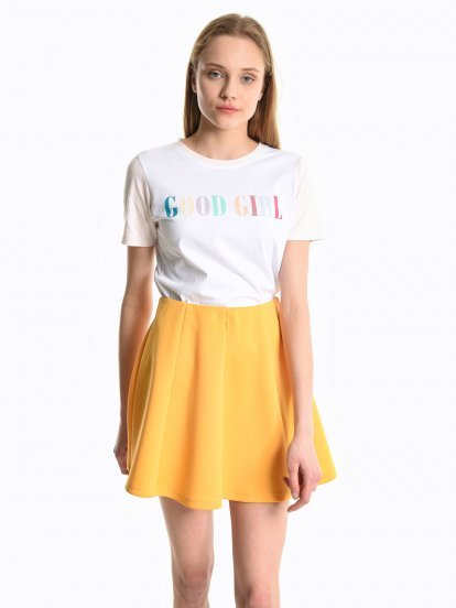 Message print t-shirt with contrast sleeves