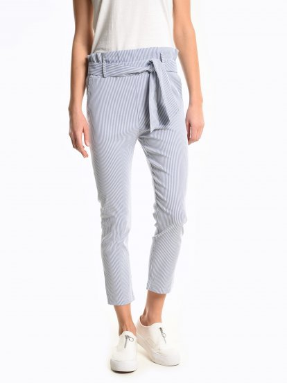 Striped slim fit paper bag trousers