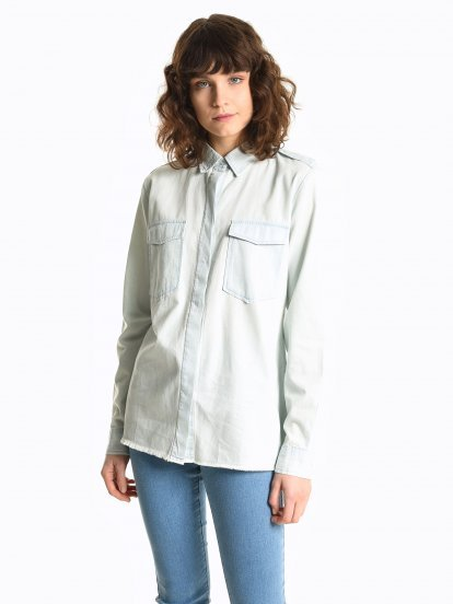 Denim blouse with frayed hem