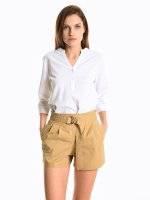 Linen blend basic blouse