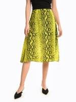 Midi skirt with animal print