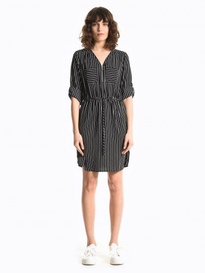 Striped dress with front zipper
