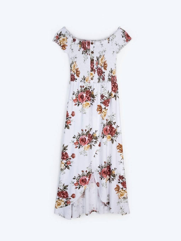 Off-the-shoulder floral print dress