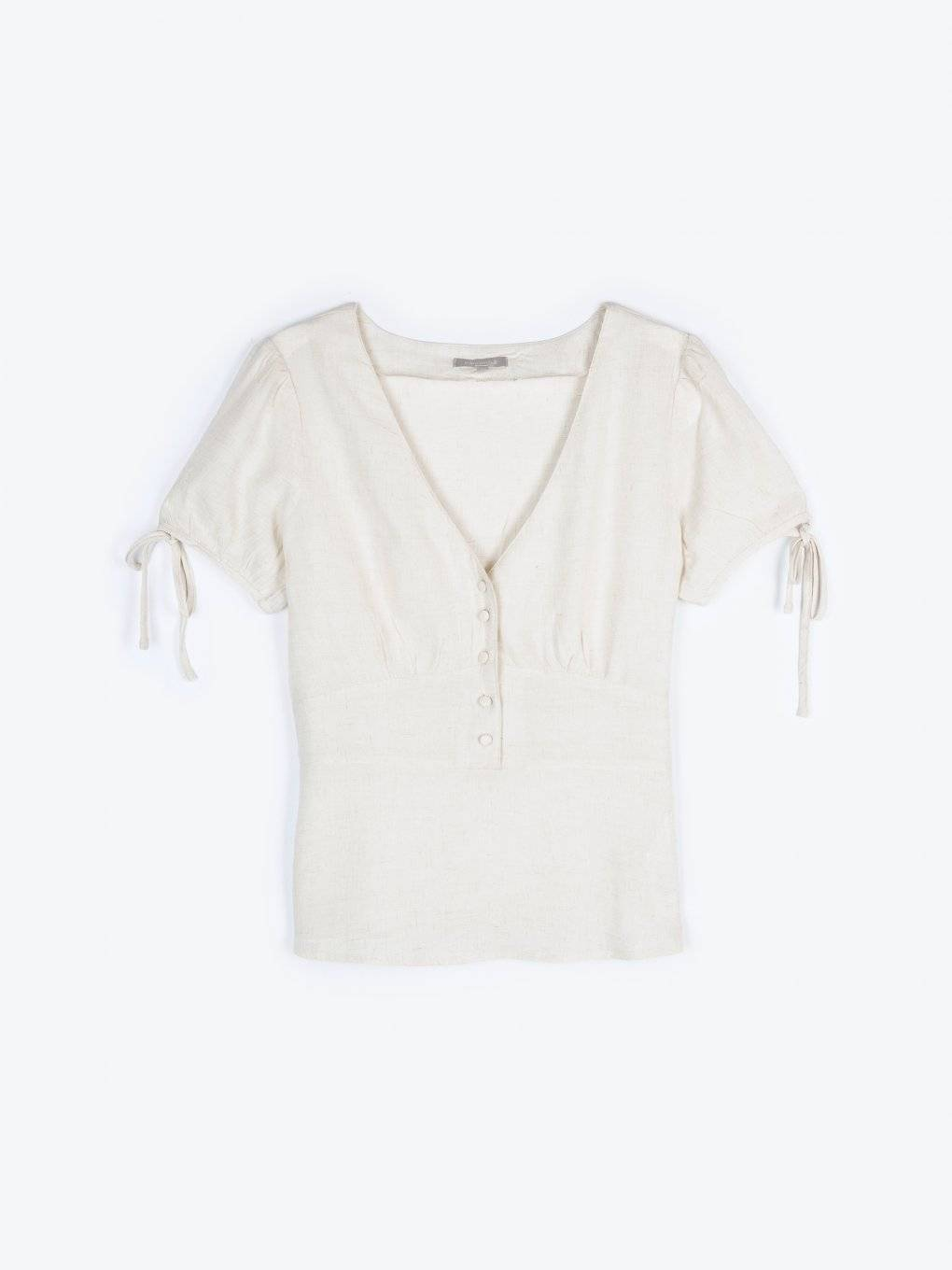 Viscose blouse with linen blend