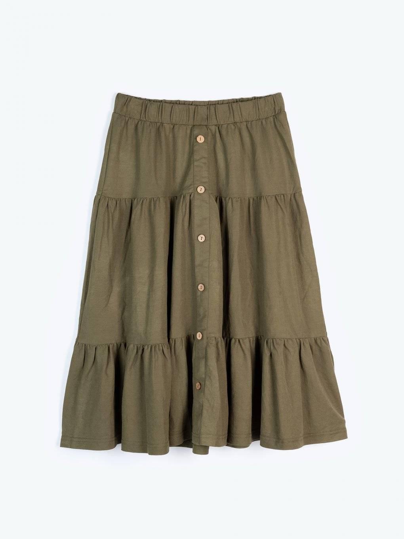 Midi skirt with ruffles