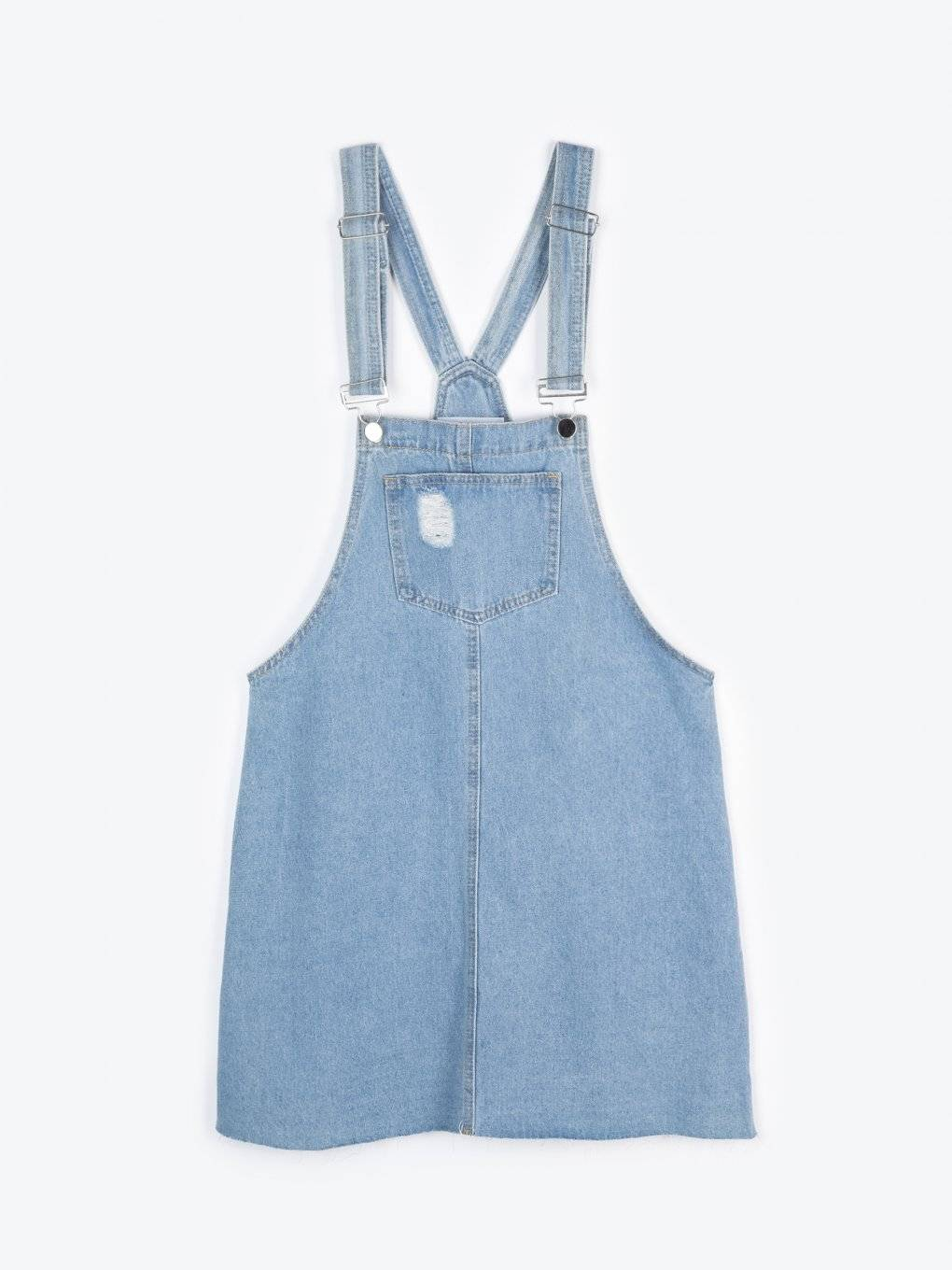 Dungaree denim skirt