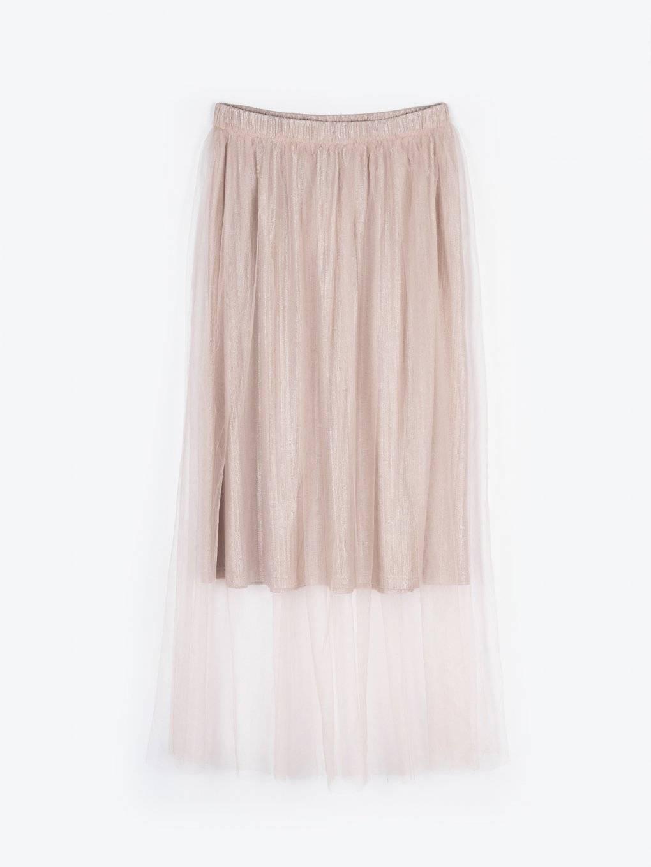 Tulle skirt with metallic fiber